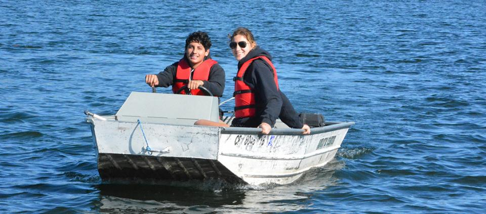 two people boating