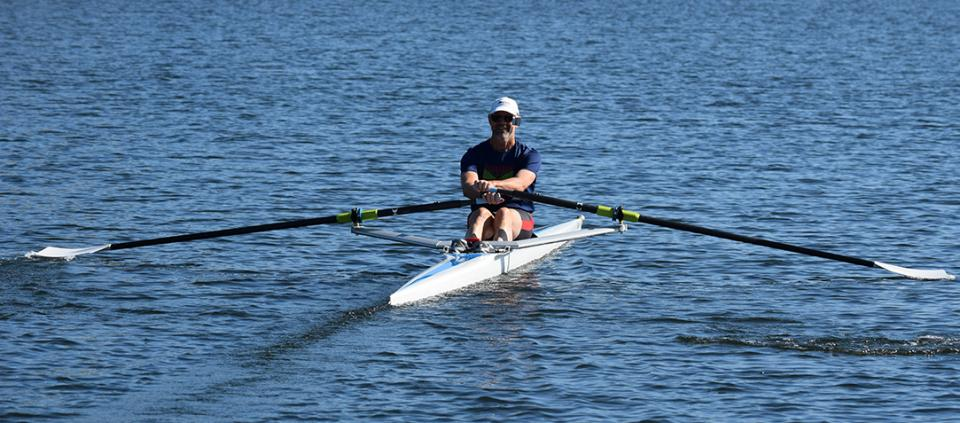 man rowing